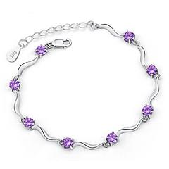 preiswerte Armbänder-Damen Ketten- & Glieder-Armbänder - Sterling Silber, versilbert Armbänder Weiß / Purpur Für Weihnachts Geschenke Hochzeit
