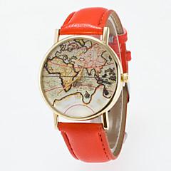 お買い得  レディース腕時計-女性用 リストウォッチ PU バンド ヴィンテージ / ファッション / 世界地図柄 ブラック / ブルー / レッド / 1年間 / Jinli 377