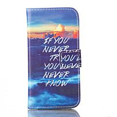 Для Кейс для iPhone 5 Бумажник для карт / со стендом / Флип Кейс для Чехол Кейс для Слова / выражения Твердый Искусственная кожаiPhone