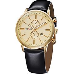 お買い得  大特価腕時計-WEIDE 男性用 リストウォッチ カレンダー / 耐水 レザー バンド ぜいたく ブラック / 2年 / Maxell626 + 2032