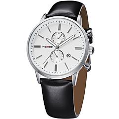 お買い得  メンズ腕時計-WEIDE 男性用 リストウォッチ クォーツ 30 m 耐水 カレンダー レザー バンド ハンズ ぜいたく ブラック - ゴールドとブラック シルバーとブラック ホワイト / シルバー 2年 電池寿命 / ステンレス / Maxell626 + 2032
