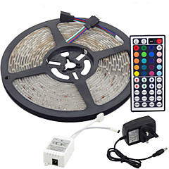abordables Sets de Luces-5 m Tiras LED Flexibles / Sets de Luces / Tiras de Luces RGB LED 3528 SMD RGB Control remoto / Cortable / Regulable 100-240 V / Conectable / Auto-Adhesivas / Color variable / IP44