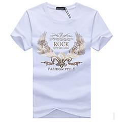 저렴한 -남성용 하이킹 T-셔츠 통기성 땀 흡수 기능성 소재 티셔츠 탑스 용 캠핑 & 하이킹 등산 레저 스포츠 사이클링/자전거 달리기 여름 L XL XXL XXXL XXXXL