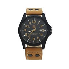 お買い得  メンズ腕時計-男性用 リストウォッチ カレンダー レザー バンド カジュアル / ファッション ブラウン / グリーン / カーキ