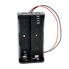 baratos -2-slot caixa de titular caso diy 18650 w / leads - preto