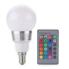 billige LED lyspærer-2W E14 LED-globepærer A60(A19) 1 leds COB Dæmpbar Fjernstyret Dekorativ RGB 250lm RGBK Vekselstrøm 85-265V