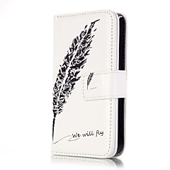 Для Кейс для iPhone 5 Бумажник для карт / Кошелек / со стендом / Флип / С узором Кейс для Чехол Кейс для Перо Твердый Искусственная кожа