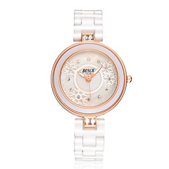 voordelige Dameshorloges-Dames Modieus horloge Gesimuleerd Diamant Horloge Kwarts Waterbestendig Vrijetijdshorloge Keramiek Band Wit