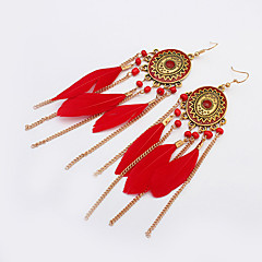 Γυναικεία Κρεμαστά Σκουλαρίκια Βοημία Style Ευρωπαϊκό Μοντέρνα Φτερό Κράμα Oval Shape Κοσμήματα Για Καθημερινά Causal
