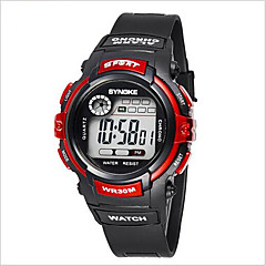SYNOKE Dziecięce Sportowy Zegarek na nadgarstek Cyfrowe LCD Kalendarz Chronograf Wodoszczelny alarm Świecący Guma Pasmo Czarny