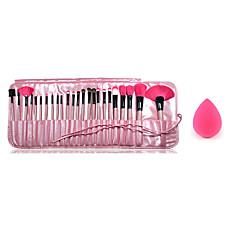 24pcs make-up kwasten houten handvat blush / foundation / poeder / shadow / liner brush cosmetica-set en een kleine make-up spons