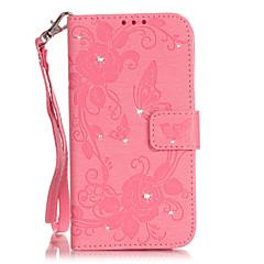 Недорогие Кейсы для iPhone 5-Кейс для Назначение Кейс для iPhone 5 Кошелек Стразы со стендом Флип Рельефный Чехол Бабочка Твердый Искусственная кожа для iPhone SE/5s