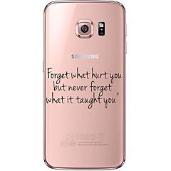 billige Galaxy S6 Etuier-For Samsung Galaxy S7 Edge Transparent Mønster Etui Bagcover Etui Ord / sætning Blødt TPU for Samsung S7 edge S7 S6 edge plus S6 edge S6