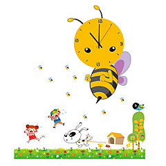 Cartoon DIY Big Bee Animals Wall Clock With Wall Stickers For Children's Bedroom Home Decor