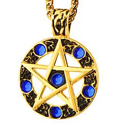 legnépszerűbb 18k aranyozott medál kék strasszos kerek csillag nyaklánc nők férfiak középkori stílusú ékszerek p30167