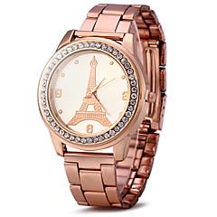 Dame Kjoleur Modeur Simuleret Diamant Ur Quartz / Imiteret Diamant Rødguldbelagt Rustfrit stål Bånd Glitrende Eiffeltårnet Sej Guld Rose