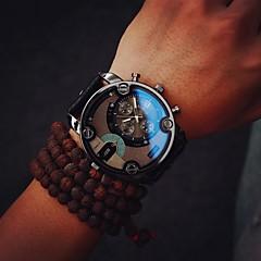 Hombre Reloj Militar Cuarzo Reloj Casual Piel Banda Lujo Vintage Negro Marrón