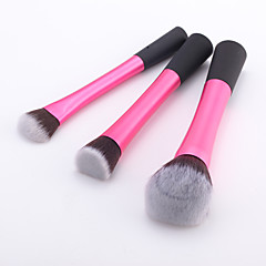 3 Pieces Pink Super Soft Synthetic Hair Makeup Brush Basic Professional Kit with Standing