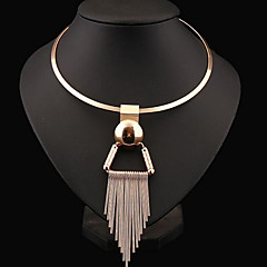 cheap Necklaces-Women's Choker Necklace / Statement Necklace  -  Sterling Silver Tassel, European, Fashion Silver, Golden Necklace For Party, Daily, Casual
