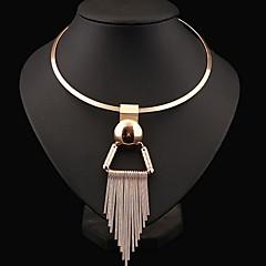 Naisten Choker-kaulakorut Statement kaulakorut Circle Shape Sterling-hopea Metalliseos Muoti Statement-korut Eurooppalainen pukukorut