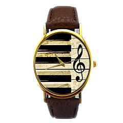 お買い得  レディース腕時計-男性用 クォーツ リストウォッチ クロノグラフ付き PU バンド 光沢タイプ ファッション ブラック 白 ブラウン ピンク ベージュ