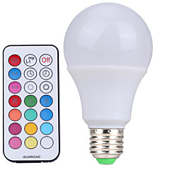 YWXLight® 10W E27 LED Globe Bulbs A60 12SMD Cold White RGB Dimmable Remote-Controlled AC85-265V