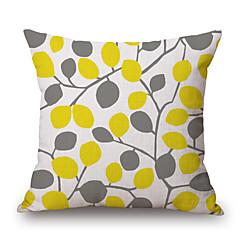hesapli -1adet sarı gri bitkiler yaprak desenli pamuklu yastık örtüsü