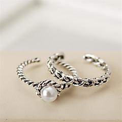preiswerte Ringe-Damen Midiring - Perle Luxus, Retro, Modisch, Ohne Verschluss Schmuck Silber Für Normal Arbeit Verstellbar