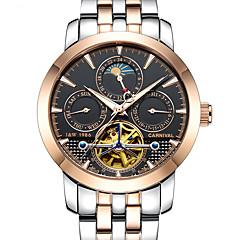 お買い得  メンズ腕時計-Carnival 男性用 スケルトン腕時計 機械式時計 自動巻き 30 m 透かし加工 夜光計 ムーンフェイズ ステンレス バンド ハンズ カジュアル 白 - ブラック