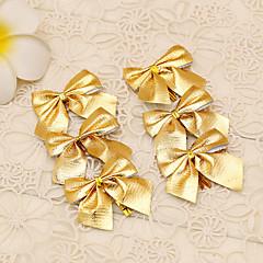12db vidám karácsonyfa díszítés arany bowknot stílusú virág nád dísz ballagás bálba kellékek