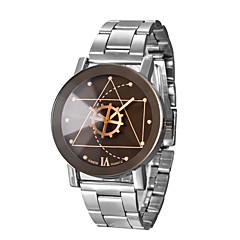 お買い得  メンズ腕時計-男性用 リストウォッチ クォーツ ステンレス バンド ハンズ チャーム ブラック / シルバー - シルバー ホワイト-ブラック ブラック / イエロー