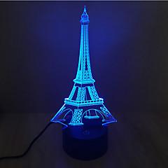 お買い得  LED アイデアライト-エッフェル塔のタッチ調光3d led夜の光7colorful装飾雰囲気のランプノベルティ照明ライト