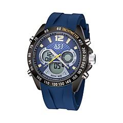 ASJ Férfi Sportos óra digitális karóra Japán Digitális Japán kvarc LCD Compass Naptár Vízálló Két időzóna Világítás Fénylő Stopperóra Gumi