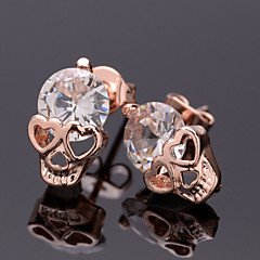 Women's Stud Earrings Punk European Costume Jewelry Rose Gold Zircon Cubic Zirconia Alloy Skull / Skeleton Jewelry For Halloween Daily