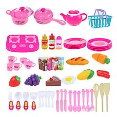 Rol Yapma Oyunu Oyuncak Mutfak Takımları Kids 'Pişirici Cihazlar Oyuncaklar Sebze Meyve Kendin-Yap 54 Parçalar
