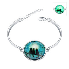cheap Luminous Jewelry-Emerald Charm Bracelet Bracelet Bangles - Sterling Silver, Emerald Ladies, Bohemian, Punk, European, Fashion Bracelet Jewelry Green For Wedding Party Daily Casual Sports