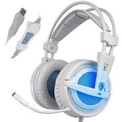 お買い得  ヘッドセット、ヘッドホン-SADES A6 オーバーイヤー / ヘアバンド ケーブル ヘッドホン 動的 プラスチック ゲーム イヤホン ボリュームコントロール付き / マイク付き / ノイズアイソレーション ヘッドセット