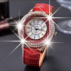 お買い得  レディース腕時計-女性用 クォーツ フロートクリスタル腕時計 カジュアルウォッチ レザー バンド Elegant ファッション ブラック 白 レッド ブラウン