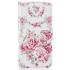 Недорогие Кейсы для iPhone 5-Кейс для Назначение Apple iPhone 7 Plus iPhone 7 Бумажник для карт Кошелек со стендом Флип С узором Чехол Цветы Твердый Кожа PU для