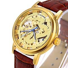 お買い得  大特価腕時計-CAGARNY 男性用 ファッションウォッチ スケルトン腕時計 リストウォッチ 自動巻き 透かし加工 クール 本革 バンド ハンズ ぜいたく ヴィンテージ カジュアル ブラック / ブラウン - ゴールド シルバー