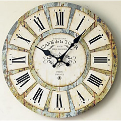 Modern/Contemporary Country Casual Family Wall Clock,Round Wood Indoor/Outdoor Indoor Outdoor Clock