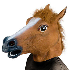 Horse Head Mask Creepy Party Novelty Halloween Costume Party Animal Head Sounding Mask Brown Horse