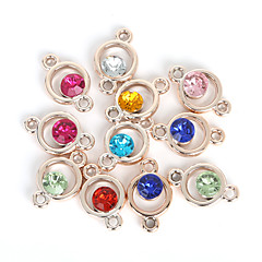 Beadia 20Pcs Assorted Colors 15x24mm Round Acrylic Plastic Rhinestone Charm Pendant & Connector Findings
