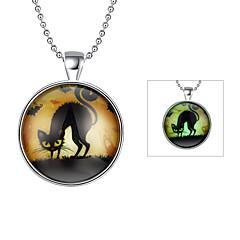 Cremation Jewelry Magical Glow in The Dark 925 Sterling Silver Luminous Cat Pendant Necklace