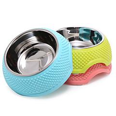 قط كلب الطاسات وزجاجات مغذيات حيوانات أليفة السلطانيات والتغذية المحمول قابلة للطى أصفر أزرق زهري