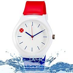 preiswerte Damenuhren-damas Armbanduhr Quartz Cool Mehrfarbig Silikon Band Analog Blätter Süßigkeit Freizeit Blau / Rot - Regenbogen
