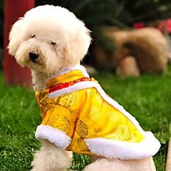 tanie Odzież dla kota-Kot Pies Płaszcze Bluzy Ubrania dla psów Modny Sylwester Haftowane Yellow Czerwony Kostium Dla zwierząt domowych