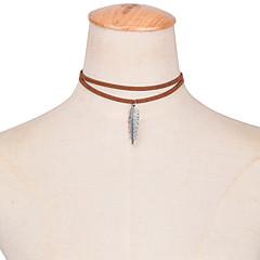 preiswerte Halsketten-Damen Quaste Halsketten / Tattoo-Hals - Feder Personalisiert, Tattoo Stil, Quaste Niedlich Weiß, Schwarz, Braun Modische Halsketten Schmuck Für Hochzeit, Party, Alltag