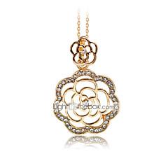 Жен. Ожерелья с подвесками В форме цветка Стразы Позолоченное розовым золотом Искусственный бриллиант Сплав Цветочный дизайн Цветы Мода
