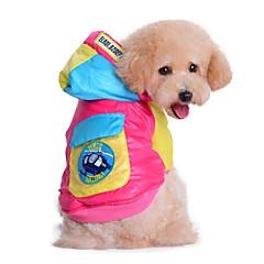 お買い得  猫の服-ネコ / 犬 コート / パーカー 犬用ウェア カラーブロック ローズ / ブルー コットン コスチューム ペット用 男性用 / 女性用 保温 / ファッション